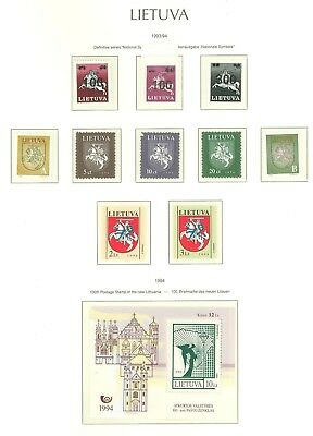 Lithuania F82 MNH 1993/94 10v+s/s OVPT Coat of Arms Horse Rider