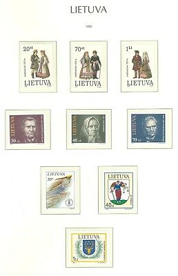 Lithuania F86 MNH 1995 9v National Costumes Coat of Arms Sport