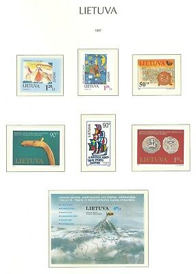 Lithuania F92 MNH 1997 6v s/s Children Painting Art Mountains Flag Map