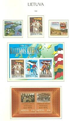 Lithuania G01 MNH 1999 3v+2s/s Landscape Amber Europa Flags Theatre