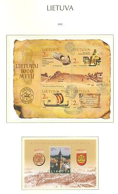 Lithuania G12 MNH 2002 2s/s City view Klaipeda Coat of Arms Coin Sail Boat
