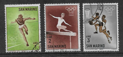 San Marino Postal Issue 1964- 3 Used Commemorative Stamps Summer Olympics, Tokyo