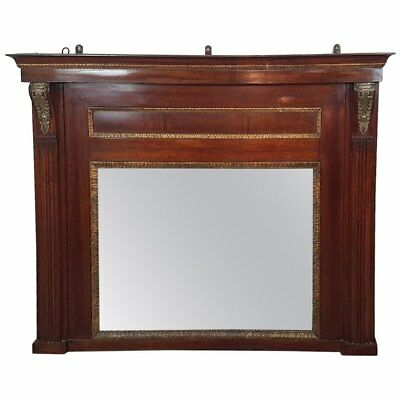 19th Century French Empire Mahogany Wall Mirror with Original Mercury Mirror