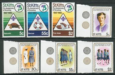 St.Kitts 2 sets 1982-1985 ** MNH Pfadfinder scouts cm35