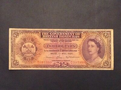 - 1965 British Honduras Two $2 Dollars Elizabeth II P 29b