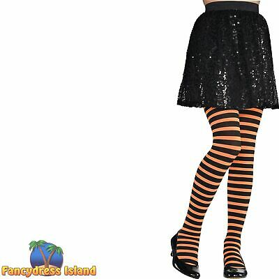 Tights Stripes Striped Christmas Halloween Witch Festive Kids Childs Fancy Dress