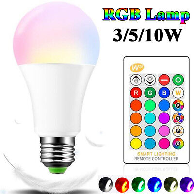 16Color Changing Light E27 10W RGB LED Lamp Bulb + Wireless Remote Control