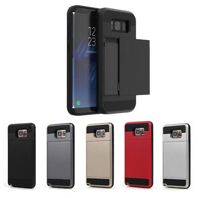 Phone Cover Credit Holder Wallet Case Card ID Slide Phone Shell  For Smg/ IP