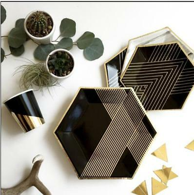Gold Black Disposable Tableware Sets Paper Plate Cups Napkins Theme Party