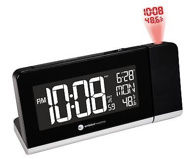 Ambient Weather RC-8465 Radio Controlled  Projection Alarm Clock with Color