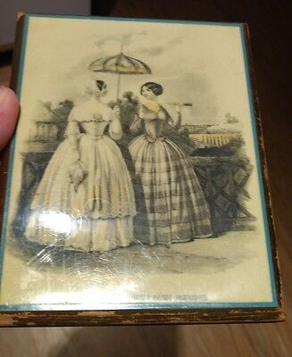 Vintage Godey's Americanized Paris Fashions Small Wooden Plaque Advertisement