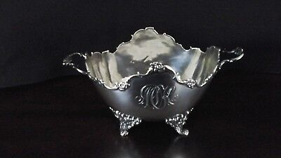 Antique Sterling Silver Footed Sugar Bowl -Very Ornate With Handles And Monogram