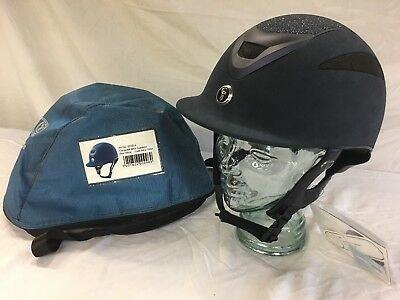 Gatehouse conquest Mark 2 Suedette Navy Glitter riding hat 60cm