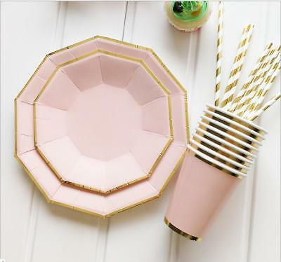 Paper Disposable Tableware Pink Gold Plates Cups Wedding Birthday Party set