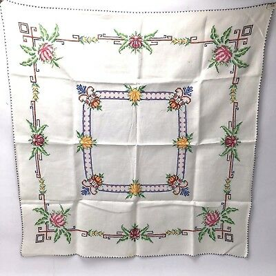 Vintage Hand Embroidery Tablecloth Flower Floral Linen 83x81cm Cross Stitch