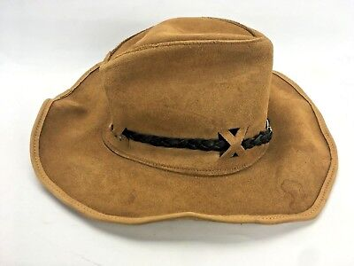 Vintage Leather Hide Hat Brown Cowboy HAND Made in Australia Banded Slouch