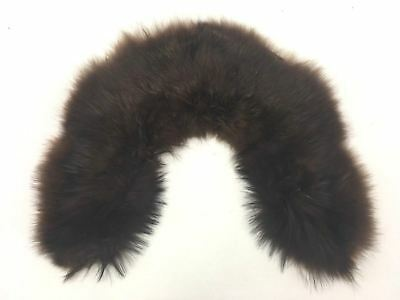 Vintage 1950s REAL FUR COLLAR STOLE BROWN Beautiful Condition Hand Stitched