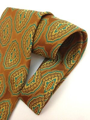 Vintage Necktie Wide Neck Tie Brown Blue Paisley Boho Jacquard Intricate Silver