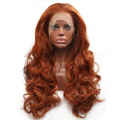 BESTUNG Fashion Copper Red Long Natural Wavy Free Part Lace Front Wig 20""