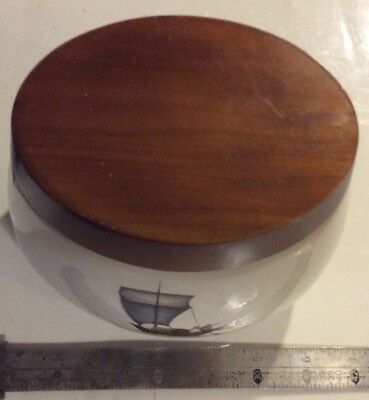 "Alfred Dunhill London Ceramic 6.5 x 5"" Oval Tobacco Humidor Nautical Ship Theme"