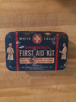 vintage white cross first aid kit containe only