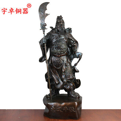 "25"" China antique bronze copper guangong Guan Yu Statues Collection"