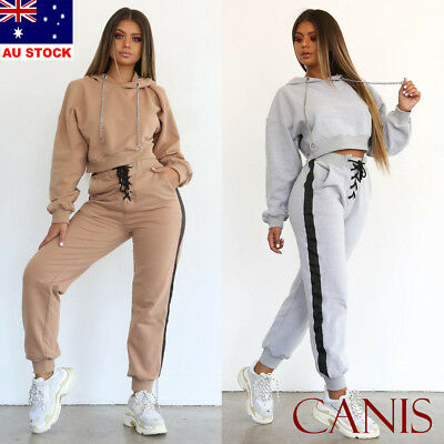 2Pcs Women Tracksuit Hoodies Sweatshirt Pants Sets Sport Wear Suit 2 Colors S-XL