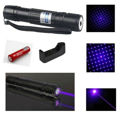 NEW  20 Miles Blue Purple 405nm Laser Pointer Pen Visible Beam+18650+Charger