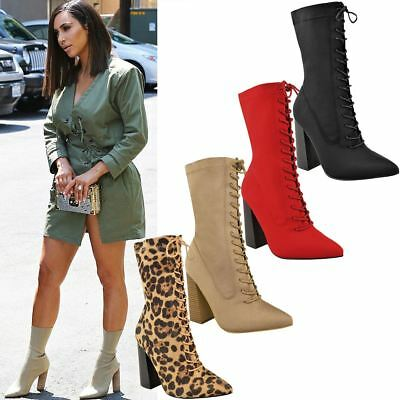 Womens Ladies New Calf Ankle Boots Lycra Lace Up Shoes Pointed Toe Stretch Size