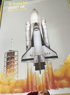 Vintage Picture Mirror 1981 Reagan' Age Space Shuttle Flight - RARE Original Box