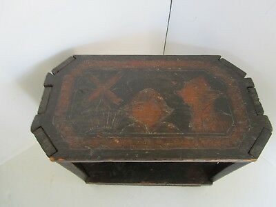 Antique FLEMISH ARTS & CRAFTS WOOD PYROGRAPHIC stool table nightstand 1880s 21½W