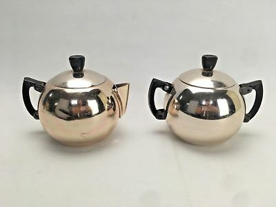 VINTAGE RETRO Orange ANODISED TEAPOT and Sugar Bowl BY TOWERBRITE - Shabby Chic