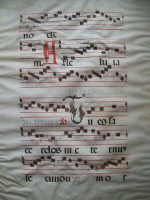 "Original Medieval Music - Antiphonal Leaf On Vellum With Large Initial ""a"""
