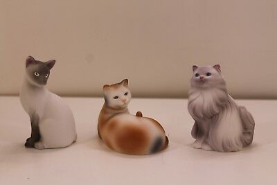 Lot of 3 Vintage Avon Porcelain Cat Figurines Persian Siamese Calico with Boxes