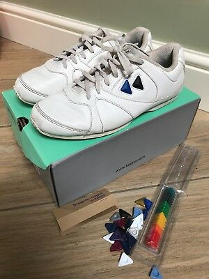 1512d791e26bc KAEPA 'CHEERFUL' WHITE Leather Cheerleading Trainers Snap In Logos. Size 37  4 UK