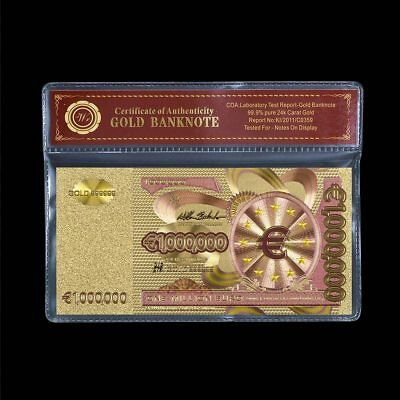 €1 MILLION EURO BANKNOTE 24k GOLD PLATED BANK NOTE WITH COA CERTIFICATE