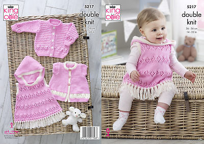 King Cole Baby Double Knitting Pattern Long or Short Sleeve Cardigans & Top 5217