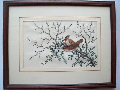 19th CENTURY CHINESE PAINTING ON RICE/PITH PAPER - TWO BIRDS ON FLOWERING BRANCH