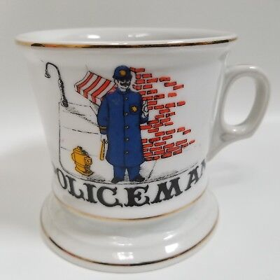 Occupational Shaving Mug With An Old Time Policeman With Billy Club In Hand Vtg