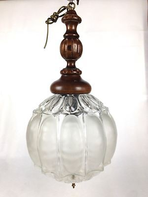 Gothic Chandelier Vintage Mid Century Italian Blown Glass and Wood Large  Light