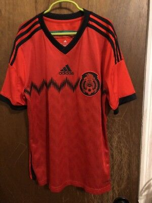 Euc ADIDAS MEXICO NATIONAL TEAM SOCCER CLIMALITE JERSEY SIZE YOUTH L World  Cup 18fca4018