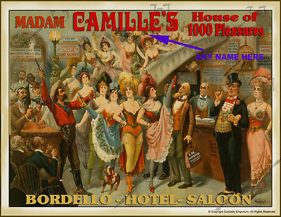Beautiful Personalized Bordello Whorehouse Art Sign Ready To Frame P*23