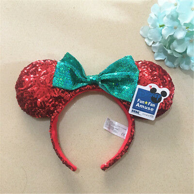 DISNEY Parks Christmas Holiday Minnie Green Bow Red Sequins Ear Headband