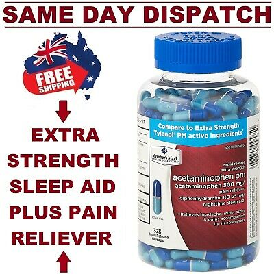 Kirkland Sleep Aid + Pain Relief Night Formula 375 Caps EXTRA STRENGTH AU STOCK