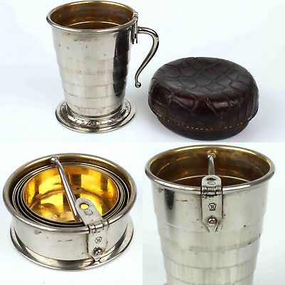 C. F. Rumpp Antique Silver Metal Collapsible Auto Travel Cup & Case