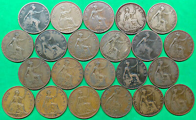 Lot of 22 Mixed Old British Large Penny Coins 1899-1948 !! E