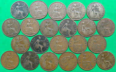 Lot of 22 Mixed Old British Large Penny Coins 1897-1947 !! F