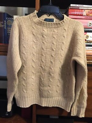 Lands End Beige 100% Cashmere Cable Knit Pullover Sweater Size Small