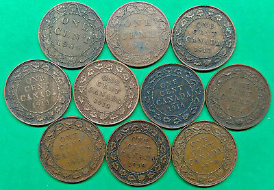 Lot of 10 Different Old Canada Large Cent Coins dated 1909-1920 !!