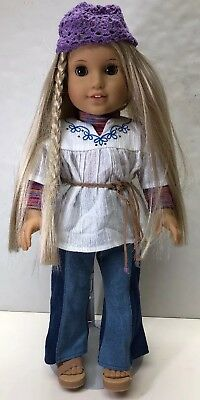 """18"""" American Girl Doll Adorable Blonde Julie Albright With Meet Hat And Outfit"""
